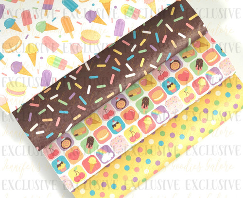 """20x34cm (7.8"""" x 13.4""""), Ice Cream Synthetic Leather, Sprinkles Fabric Sheet, US Designer, Summer Leather Fabric, Sweet Treats Leather Fabric, Jelly Fabric Sheets, Planner Fabric, DIY Hair Bows, 1 SHEET"""
