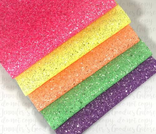 "20x34cm (7.8"" x 13.4""), Chunky Glitter Fabric, Neon Glitter Synthetic Leather, Chunky Glitter Canvas , Neon Glitter Material Sheet, DIY Hair Bows, 1 Sheet"