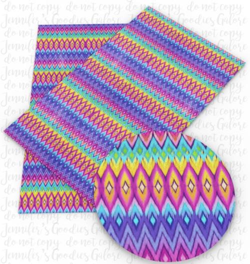 "20x34cm (7.8"" x 13.4""), Bright Aztec Fabric, Tribal Print Synthetic Leather, Chevron Leather Fabric, Zig Zag Fabric Sheet, Faux Leather Fabric Sheet, Leather Canvas Sheets, DIY Hair Bows, 1 Sheet (46)"