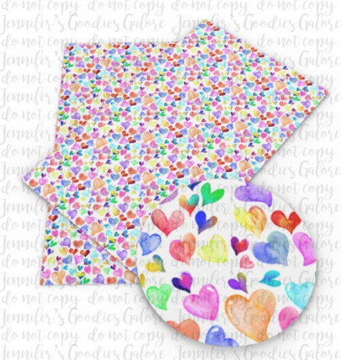 """20x34cm (7.8"""" x 13.4""""), Watercolor Hearts Synthetic Leather, Heart Fabric, Valentine Leather, Canvas Leather Fabric, Jelly Fabric Sheet, Leather Fabric, Faux Leather Fabric Sheet, Fabric, DIY Hair Bows, 1 Sheet (101)"""