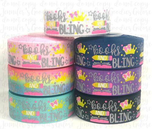 "1.5"", Books and Bling Ribbon, US Designer Ribbon, Glitter Ribbon, Back to School Ribbon, School Ribbon, Pencil, Ombre, Hair Bow Ribbon, Wholesale Ribbon, PER YARD"