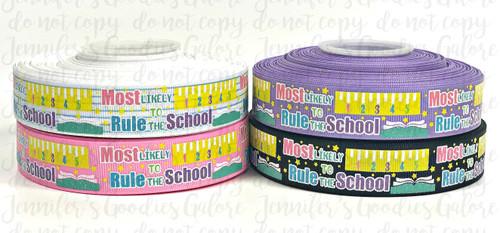 "7/8"", Rule the School Ribbon, US Designer Ribbon, Glitter Ribbon, Back to School Ribbon, School Ribbon, Hair Bow Ribbon, Lanyard Ribbon, Wholesale Ribbon, PER YARD"