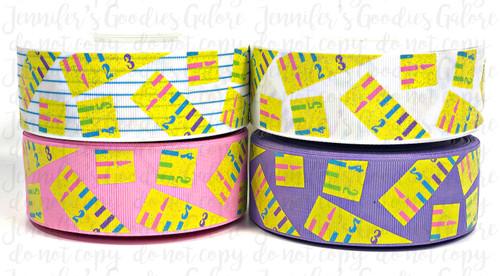"1.5"", Ruler Ribbon, US Designer Ribbon, Glitter Ribbon, Back to School Ribbon, School Ribbon, Hair Bow Ribbon, Lanyard Ribbon, Wholesale Ribbon, PER YARD"