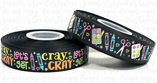 """7/8"""", Let's Get Cray Cray, US Designer Ribbon, Glitter Ribbon, Back to School Ribbon, Crayon Ribbon, School Supply Ribbon, Wholesale Ribbon, PER YARD"""
