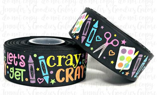 """1.5"""", Let's Get Cray Cray, US Designer Ribbon, Glitter Ribbon, Back to School Ribbon, Crayon Ribbon, School Supply Ribbon, Wholesale Ribbon, PER YARD"""