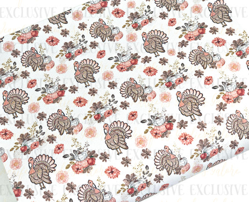"""20x34cm (7.8"""" x 13.4""""), Thanksgiving Fabric, Designer Leather Sheets, Turkey Print Synthetic Leather, Pumpkins Leather Fabric, Fabric Sheets, Faux Leather Fabric Sheet, Fabric, DIY Hair Bows, 1 Sheet"""