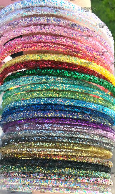 Chunky Glitter Headbands, Iridescent Lined Glitter Headband, Lined Headband, Skinny Headband, Girls Headband, DIY Headband, 1 PC