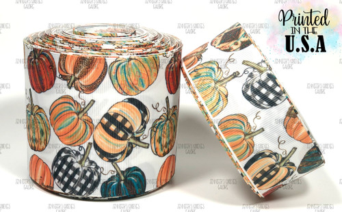 Pumpkin Ribbon, US Designer Ribbon, Leopard Pumpkins, Fall Ribbon, Halloween Ribbon, Hair Bow Ribbon, Wholesale Ribbon, PER YARD