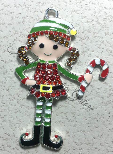 25x50mm Elf with candy cane Rhinestone Pendant, Candy Cane Pendant, Elf Pendant, Rhinestone Elf, Chunky Necklace Beads (560)