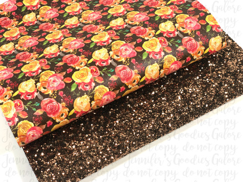 "20x34cm (7.8"" x 13.4""), Chunky Glitter Fabric, Custom Synthetic Leather, Fall Floral Leather Sheets, Brown Glitter, Roses Leather Sheets, Faux Leather, Fall Leather, DIY Leather Bows (001)"