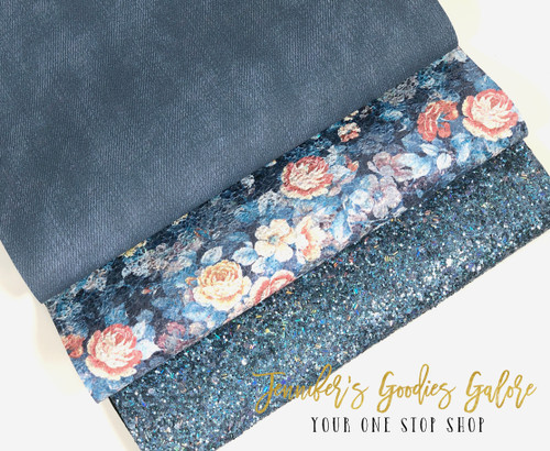 21x29cm (A4 Size), Chunky Glitter Fabric, Floral Synthetic Leather, Denim Canvas Sheets, Navy Glitter, Fall Flowers, Denim Leather, DIY Leather Bows