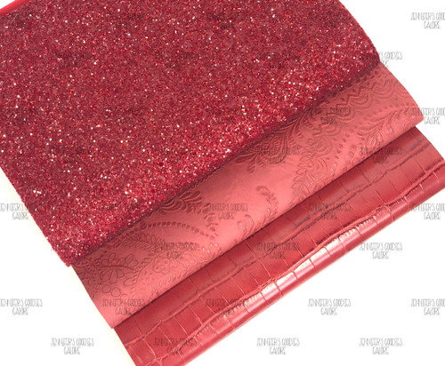 "21x29cm (A4 Size 8x11.8""), Glitter Fabric, RED Synthetic Leather, Alligator Leather Sheets, Red Glitter, Embossed Leather Fabric, DIY Leather Bows, 1 Sheet"