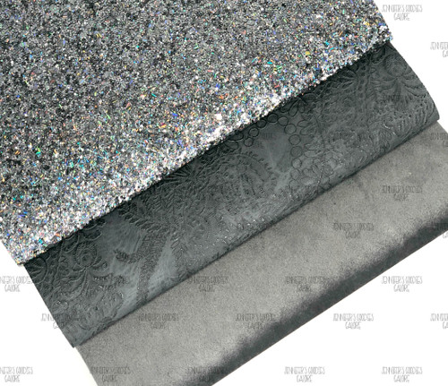 "21x29cm (A4 Size 8x11.8""), Glitter Fabric, GREY Synthetic Leather, Velvet Leather Sheets, Grey Glitter, Embossed Leather Fabric, DIY Leather Bows, 1 Sheet"