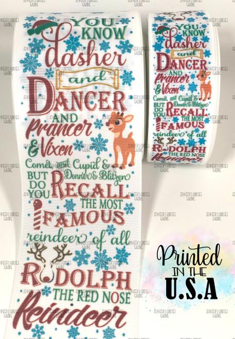 Rudolph Ribbon, US Designer Ribbon, Reindeer Ribbon, Christmas Ribbon, Hair Bow Ribbon, Wholesale Ribbon, PER YARD
