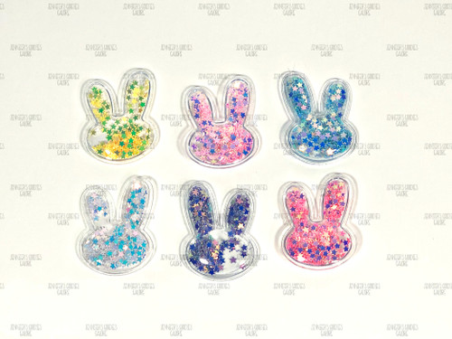 30*38mm, Small Resins, Easter Bunny Resins, Sequin Shaker, Clear PVC Bunny, Vinyl Heart, Colorful Glitter Confetti, Kids Girls Hair Decoration Accessories, Star Sequins, 1PC