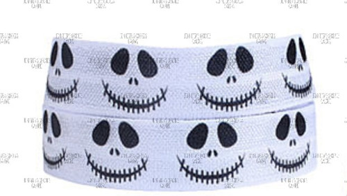 "5/8"", Jack Skellington FOE, Nightmare Before Christmas Fold Over Elastic, Skeleton, Elastic Hair Ties, Hair Ties, Wholesale Elastic"