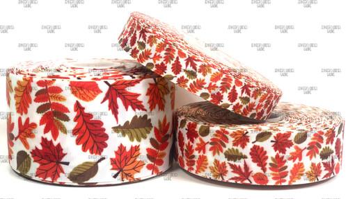 Fall Leaves Ribbon, Autumn Ribbon, Leaves Ribbon, Fall Ribbon, Hair Bow Ribbon, Lanyard Ribbon, Wholesale Ribbon, PER YARD