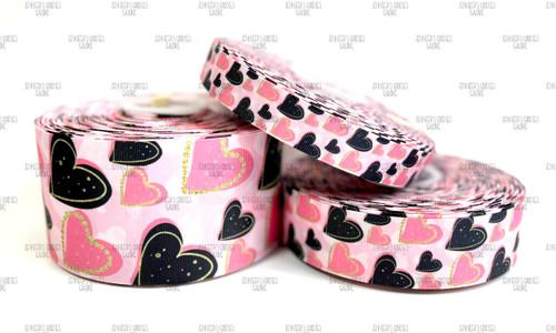 Valentine Ribbon, Pink Hearts Ribbon, Black Hearts, Love, Be Mine, Holiday Ribbon, Lanyard Ribbon, Hair Bow Ribbon, Wholesale Ribbon, PER YARD