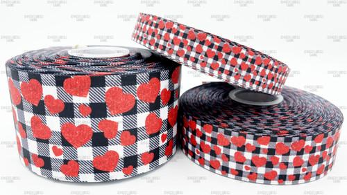 Valentine Ribbon, Valentine Plaid Ribbon, Buffalo Plaid Ribbon, Holiday Ribbon, Red Hearts, Hair Bow Ribbon, Lanyard Ribbon, Wholesale Ribbon, PER YARD