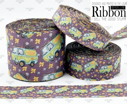 Scooby Doo Ribbon, US Designer Ribbon, Double Sided, Bus Ribbon, The Mystery Machine, Hair Bow Ribbon, Wholesale Ribbon, PER YARD