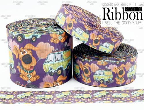 Scooby Doo Ribbon, US Designer Ribbon, Double Sided, Scooby Ribbon, The Mystery Machine, Cartoon Ribbon, Dog Ribbon, Hair Bow Ribbon, Wholesale Ribbon, PER YARD