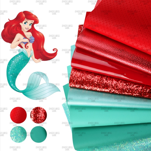 Little mermaid faux leather sheets set