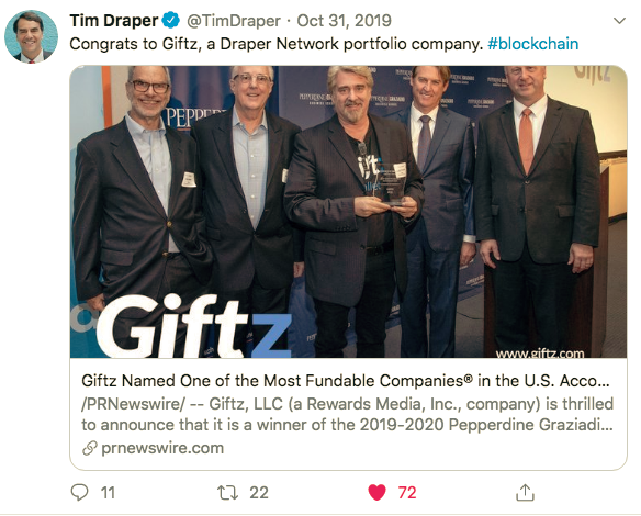Tweet from Tim Draper: Giftz Named one of the Most Fundable Companies