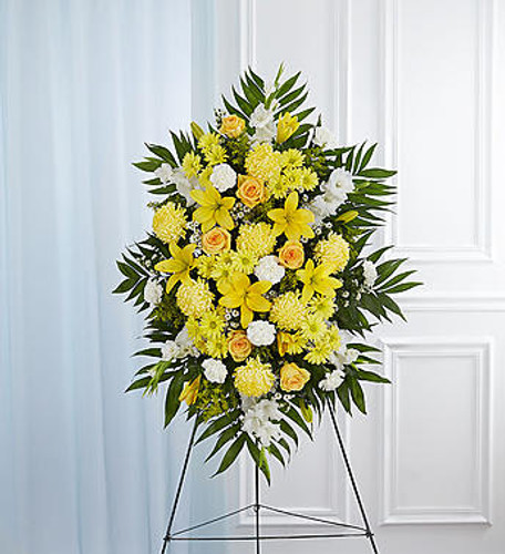 Deepest Sympathy Yellow Standing Spray
