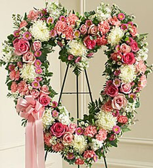 Always Remember Pink Floral Standing Heart