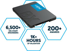 "Crucial BX500 1TB 2.5"" SATA3 6Gb/s SSD - 3D NAND 540/500MB/s 7mm 1.5 mil MTBF Acronis True Image Solid State Drive"