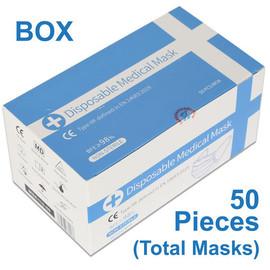 3 LAYER FACE MASK - MEDICAL GRADE LEVEL 3 EN14683 TYPE IIR BOX of 50