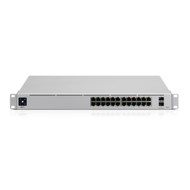 Ubiquiti UniFi 24-port switch with (24) Gigabit RJ45 ports and (2) 10G SFP+ ports.