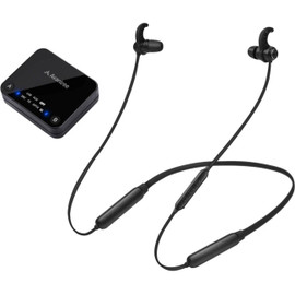 HT4186BLK WIRELESS NECKBAND EARBUDS FOR TV WITH TRANSMITTER 30M