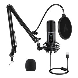 Maono AU-PM421 192KHZ/24BIT Professional Podcast Microphone with Desk Mount Arm and Accessories