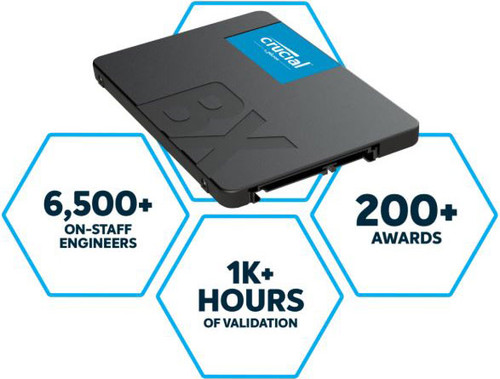 """Crucial BX500 1TB 2.5"""" SATA3 6Gb/s SSD - 3D NAND 540/500MB/s 7mm 1.5 mil MTBF Acronis True Image Solid State Drive"""