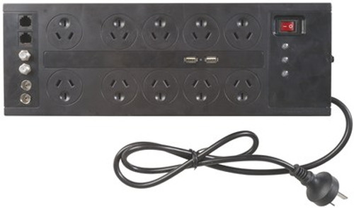 10 Way Home Theatre Surge Protected Powerboard