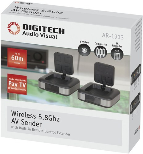Wireless 5.8GHz AV Sender/Receiver with wideband IR Extender FOXTEL IQ2