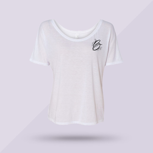 Better Together Slouchy Tee - White w Black - Front