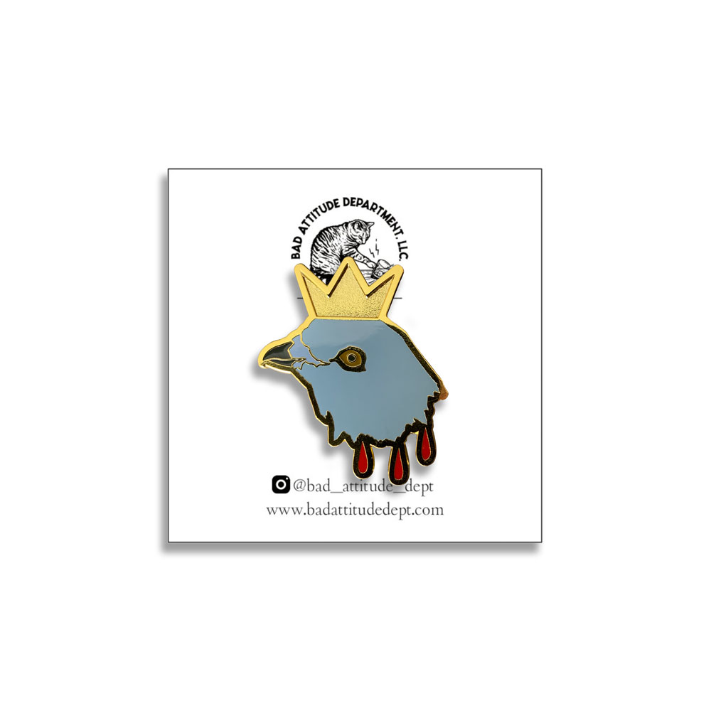 Hereditary Horror Inspired Pigeon King Paimon Hard Enamel Pin at Bad Attitude Dept