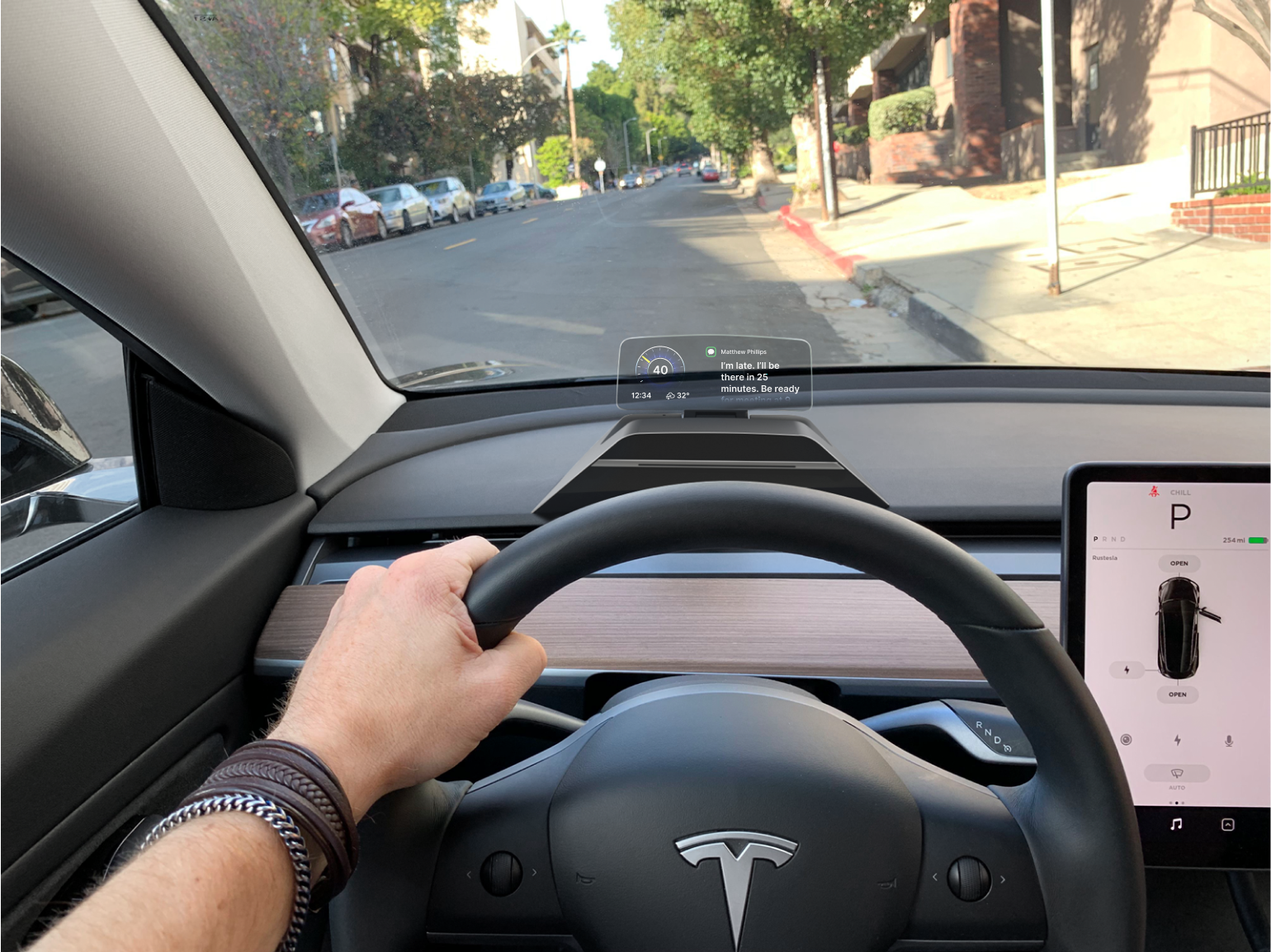 HUDWAY Drive — portable heads-up display (HUD) for Tesla Model 3 and Y