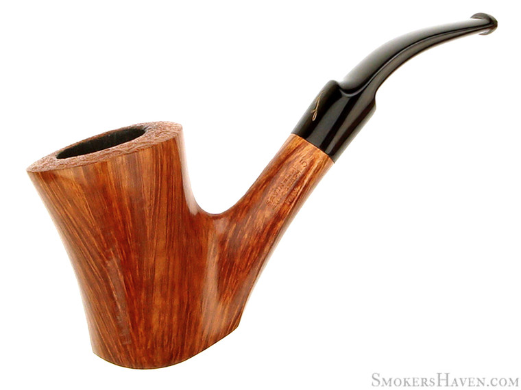 Savinelli Estate Pipe Autograph Grade 5 Partial Blast 3/4 Bent Cherrywood