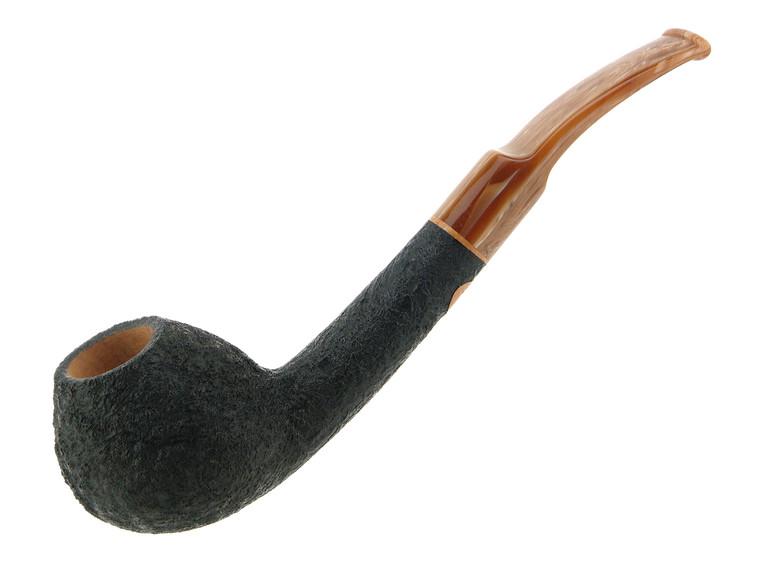 Scott's Pipes Pipe Handcrafted Black Blast Long Shank Bent Brandy