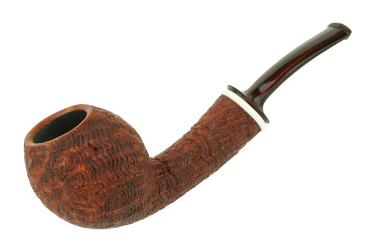 Matt Roussell Pipe Bent Danish Apple Medium Blast w/ Bakelite Ring