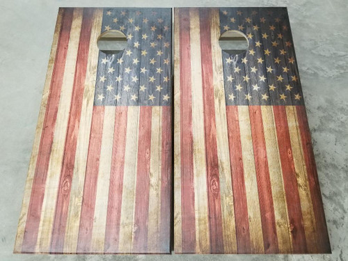 Flag - Regulation size cornhole boards.