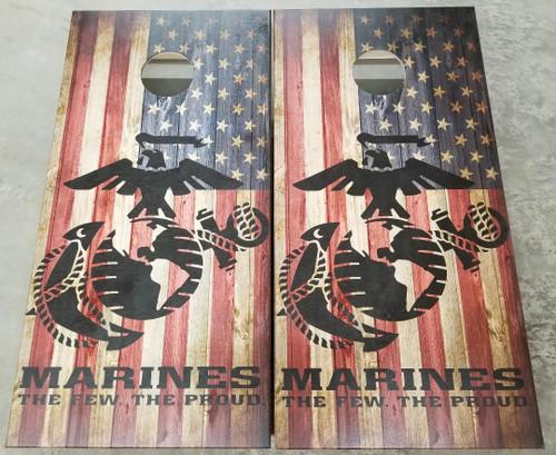 Military Marine/USA flag - Regulation size cornhole boards.