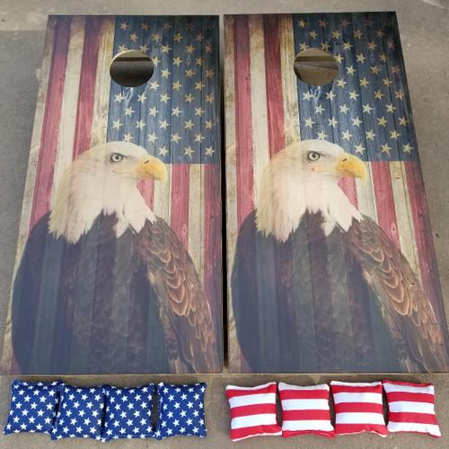 Flag #1 Eagle  -Regulation size cornhole boards.