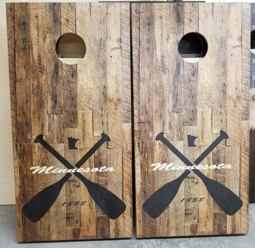 Family Paddle Design #1, custom with your state, and name- Regulation size cornhole boards.