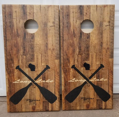 Family Paddle Design #3, custom with your state, and name- Regulation size cornhole boards.
