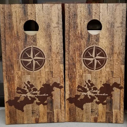 Family Lake / Compass Design #1, custom with your lake, - Regulation size cornhole boards. Bags sold separately