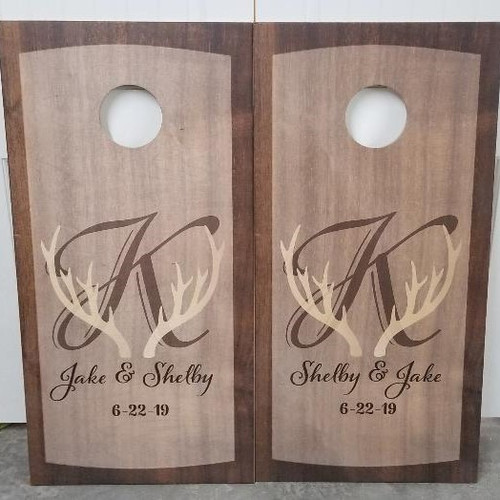Family Design #5, Custom with your name- Regulation size cornhole boards.